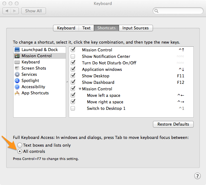 OSX Keyboard Preference Screen